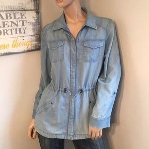 Blue jean shirt top gathered waist Chico's sz 1